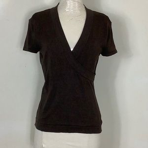New York & Co XS Silk Stretch cap sleeve wrap top